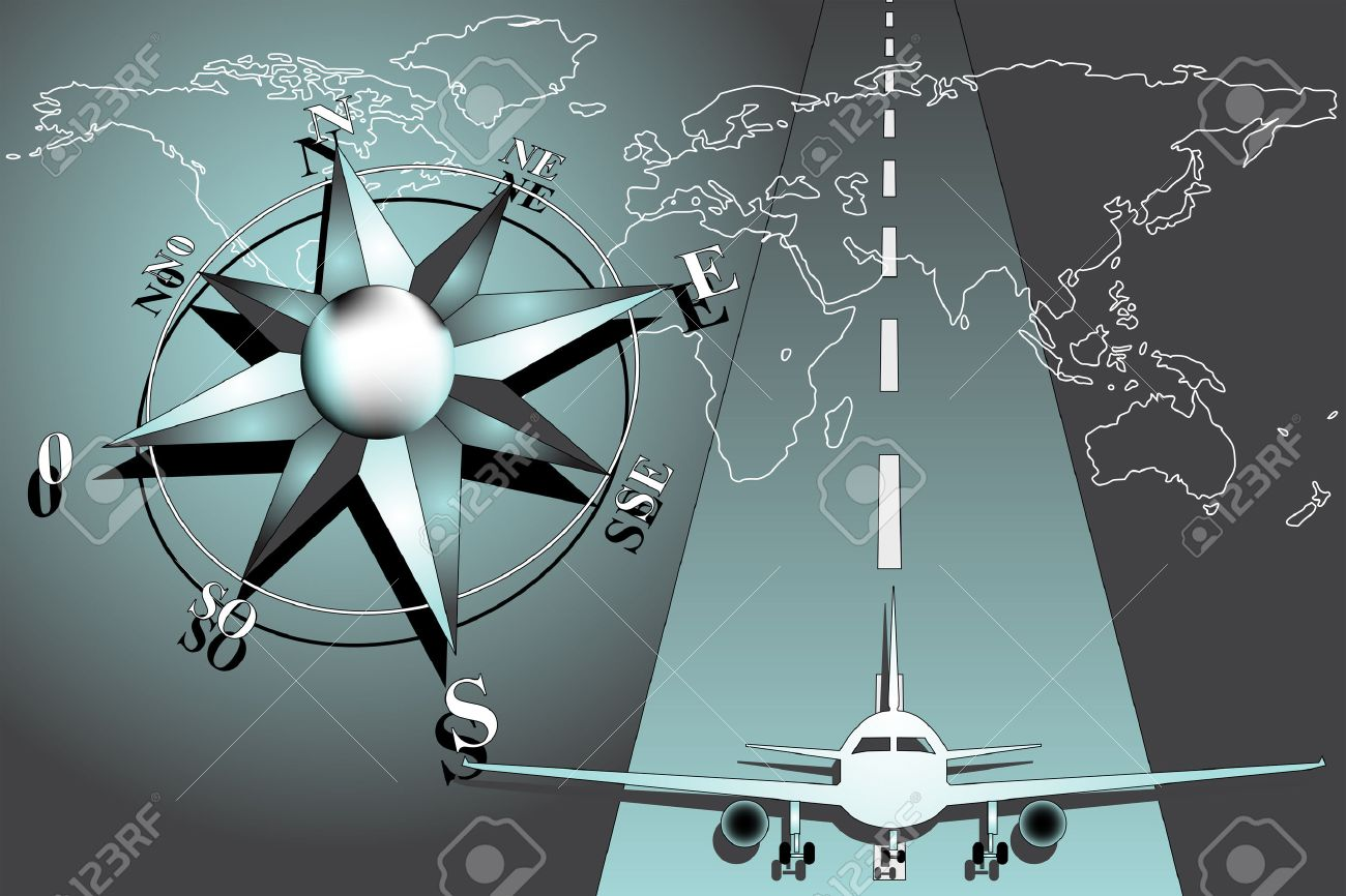 World Map With Compass Rose And Airplane Royalty Free Cliparts
