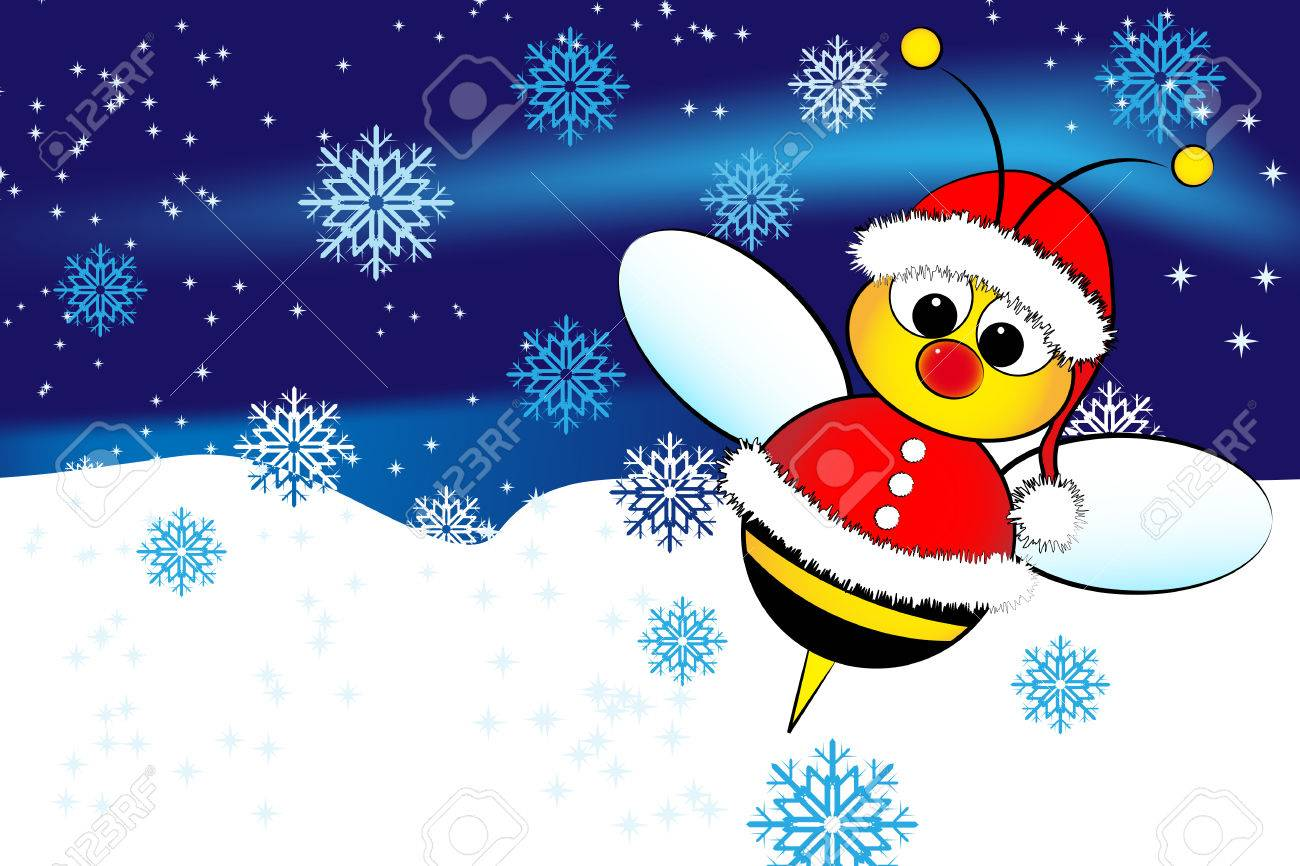 Christmas Card For Kids With A Santa Claus Bee And Snow Royalty ...