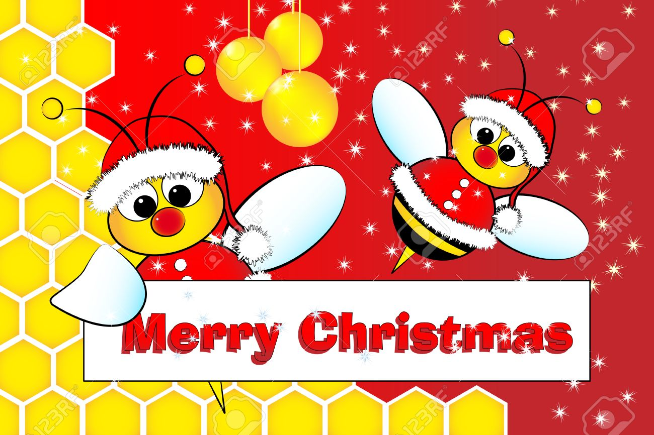 Christmas Card For Kids With Santa Claus Bees In A Beehive, Golden ...