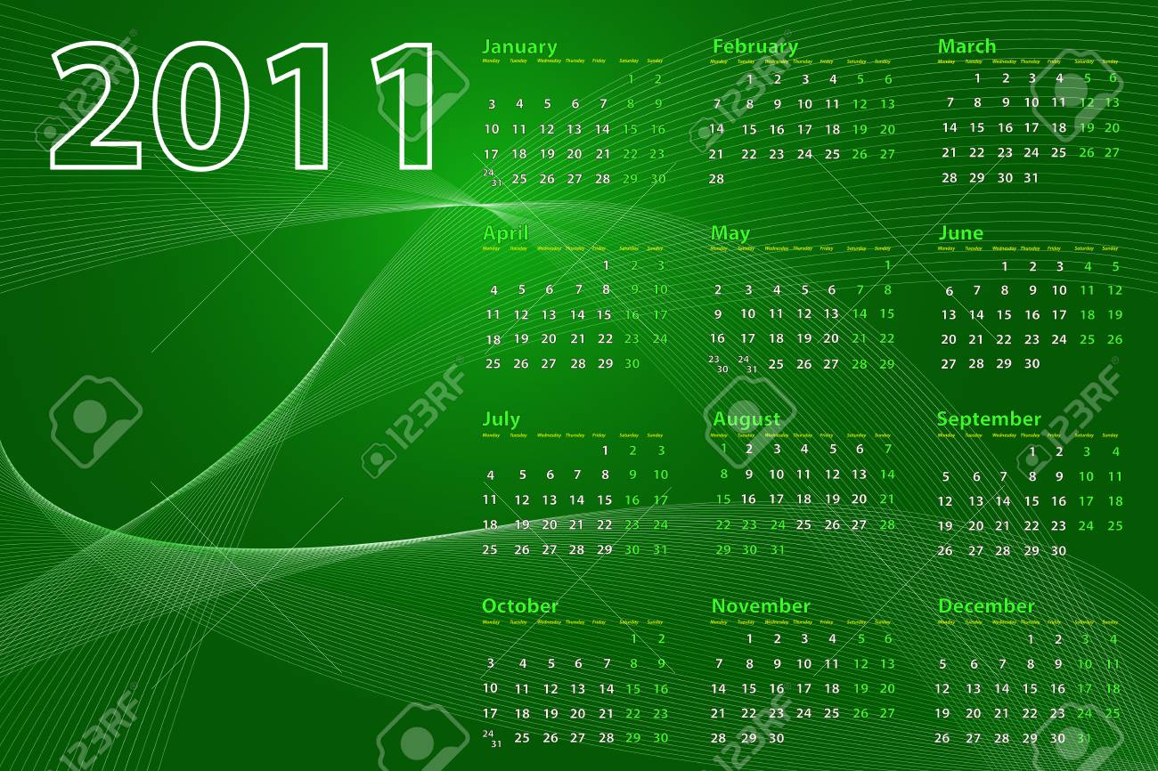 2011 calendar on abstract background with lines and waves, green tones Stock Vector - 7932822