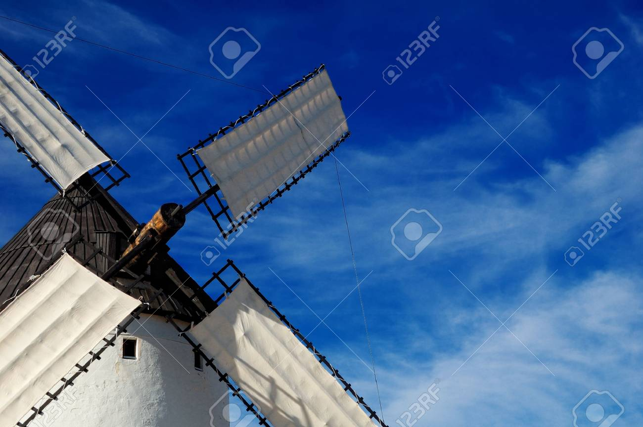 Spain, detail of windmill in Alcazar de San Juan, the giant of Quixote novel Stock Photo - 11560057