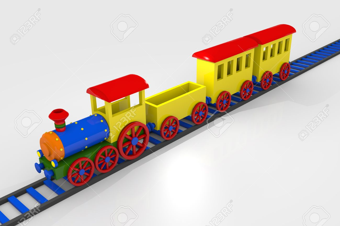 Toy train, 3d image of a colorful locomotive, wagons and railroad Stock Photo - 12202602