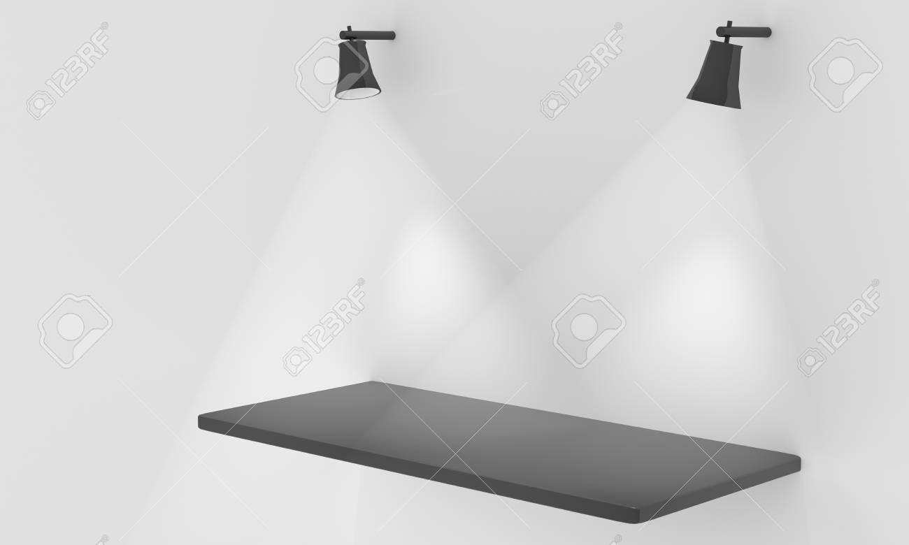 Empty shelf for exhibit with lights Stock Photo - 12549015