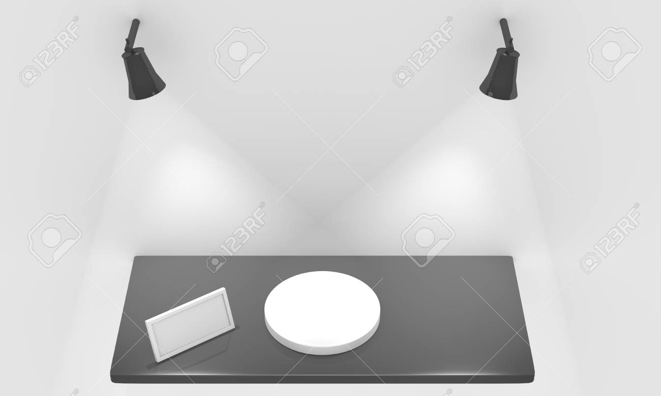 Empty shelf for exhibit with lights, blank frame and pedestal Stock Photo - 12549019