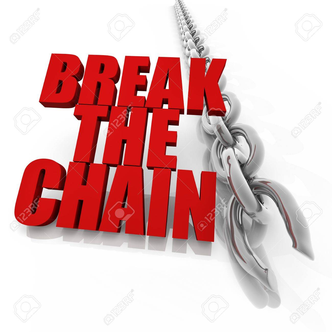 Broken chrome chain on white background, freedom concept image Stock Photo - 13496102