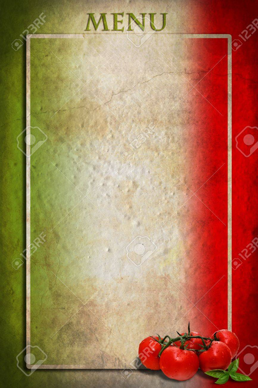 Traditional Italian flag with tomatoes and basil on blank frame Stock Photo - 15735006