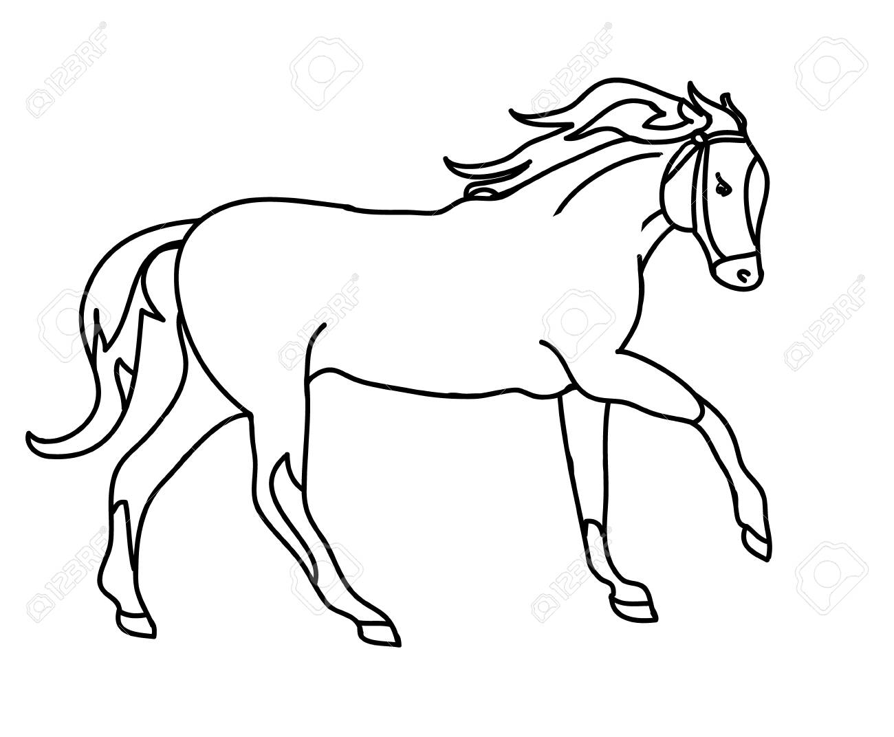 Graphic Silhouette Of A Galloping Horse The Drawing Of Lines Royalty Free Cliparts Vectors And Stock Illustration Image 69990063