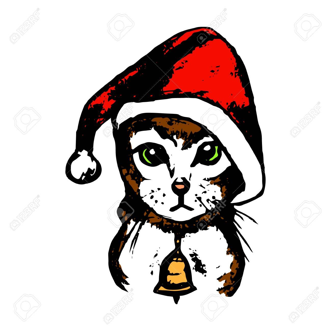 Imagen Gráfica De Un Gato Con Un Sombrero Rojo Santa. Gato Con Ojos ...