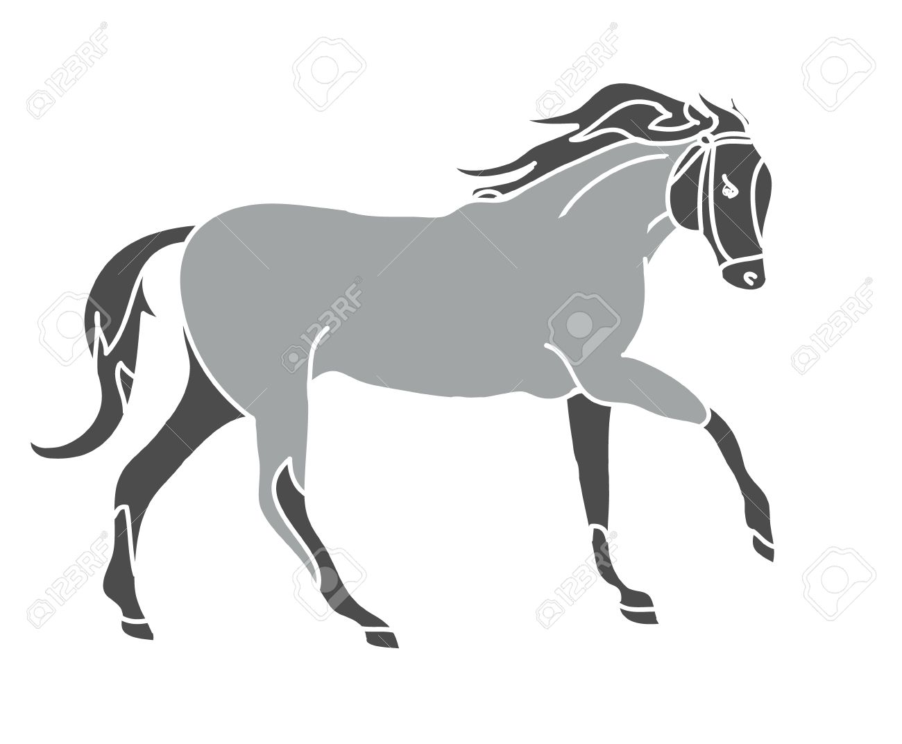 Line Drawing Vector Graphics : Graphic silhouette of a galloping horse. the drawing lines