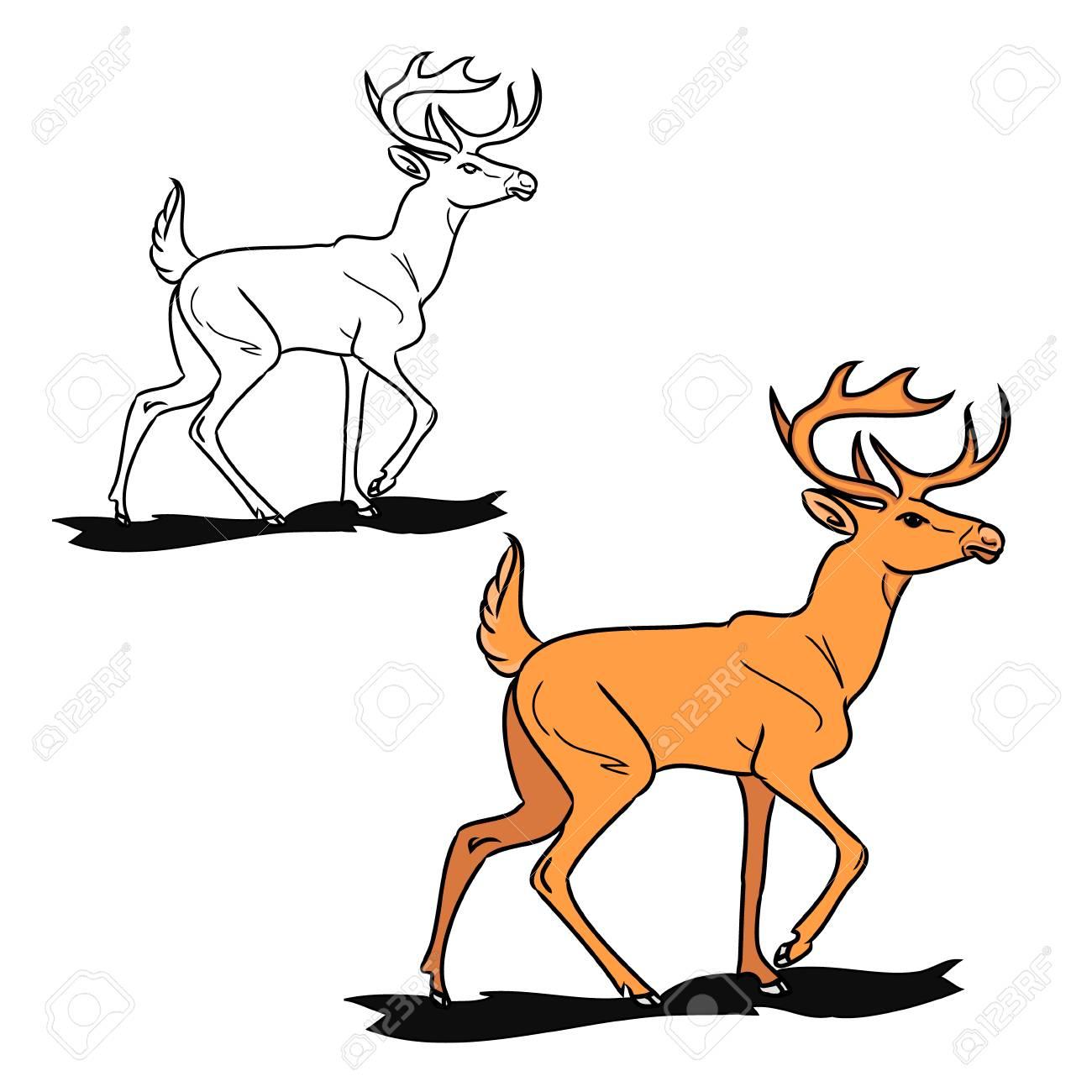 鹿のグラフィック イメージ。白地に赤の画像トナカイ。アウトラインと動物の絵の色。(2 つの回路のセット) のベクトル図