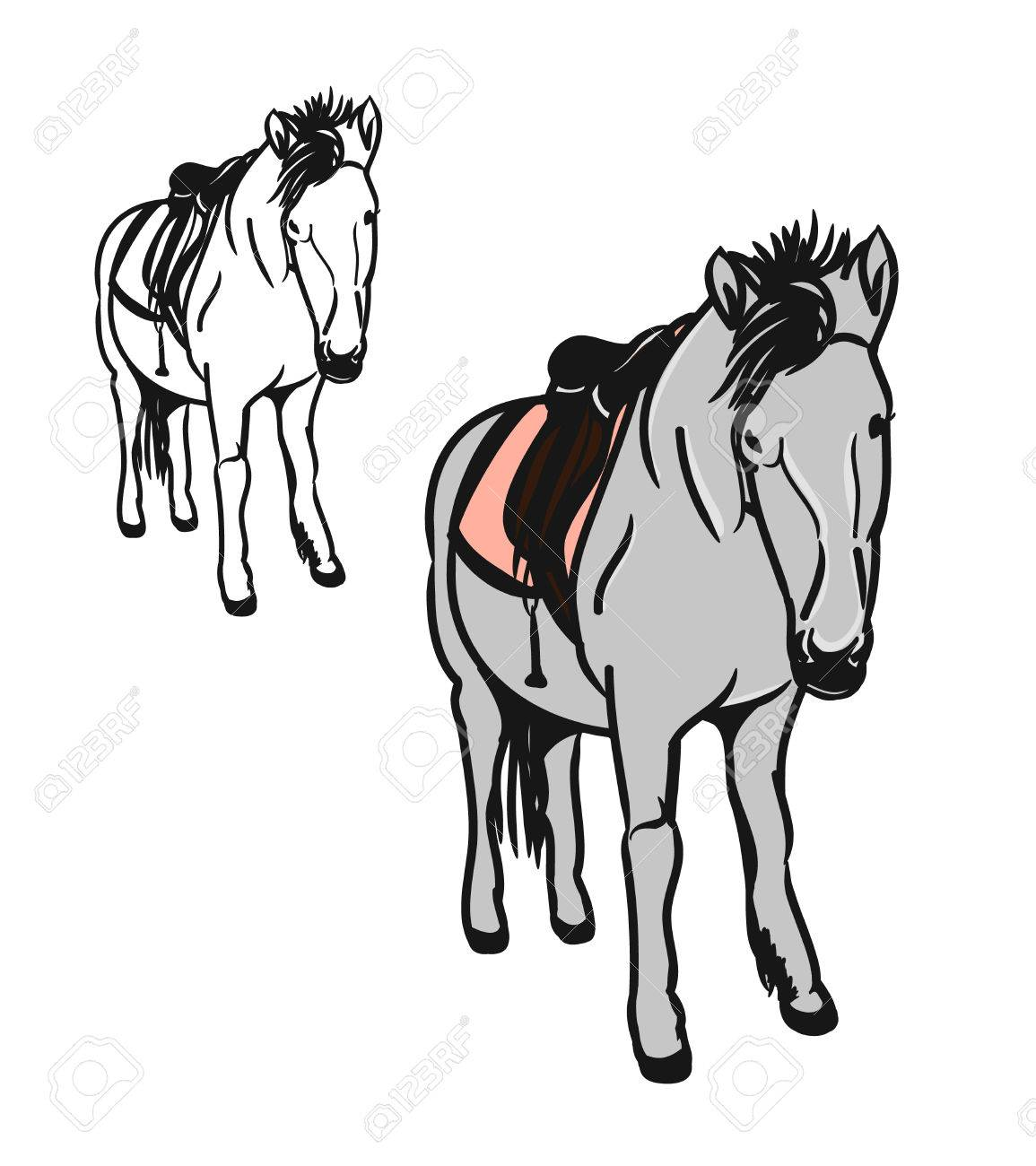 Graphic Image Of A Little Horse. Set Of Two Circuits, One Painted ...