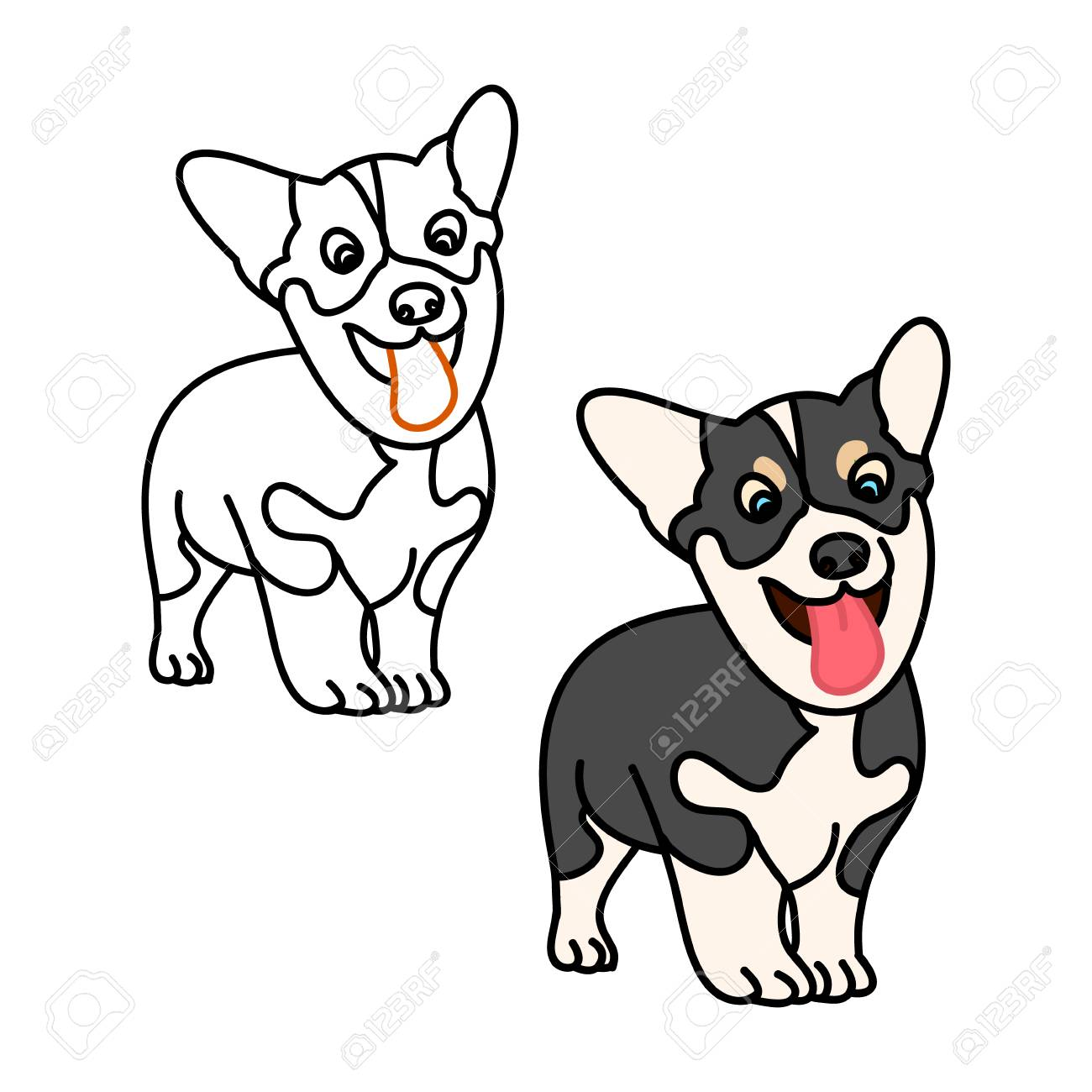 Puppy Corgi On White Background Contour Drawing Dog Vector Illustration Royalty Free Cliparts Vectors And Stock Illustration Image 81312374