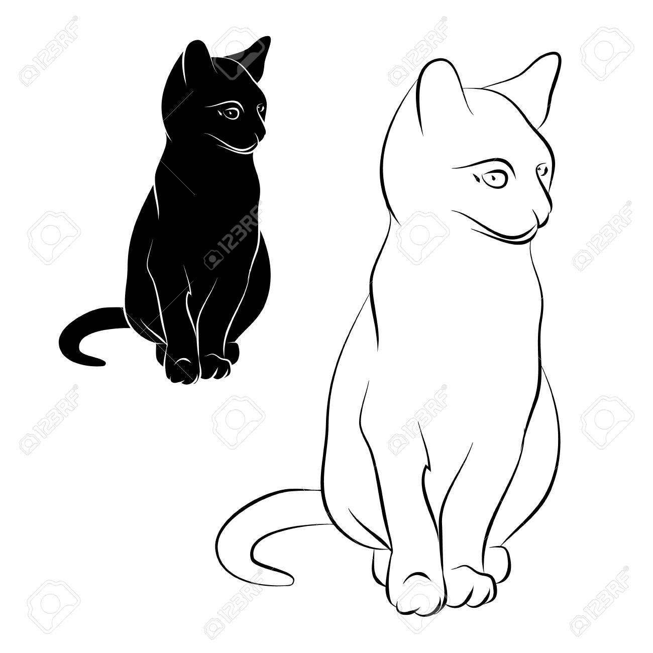 Cat Silhouette On A White Background The Outline Of A Cat Vector Royalty Free Cliparts Vectors And Stock Illustration Image 94071102