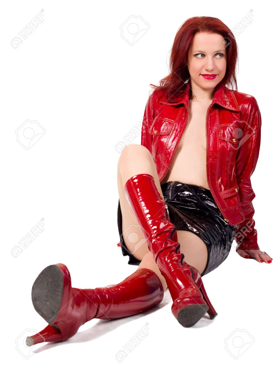 Woman Dressed In A Red Leather Jacket, Black Short Skirt And ...