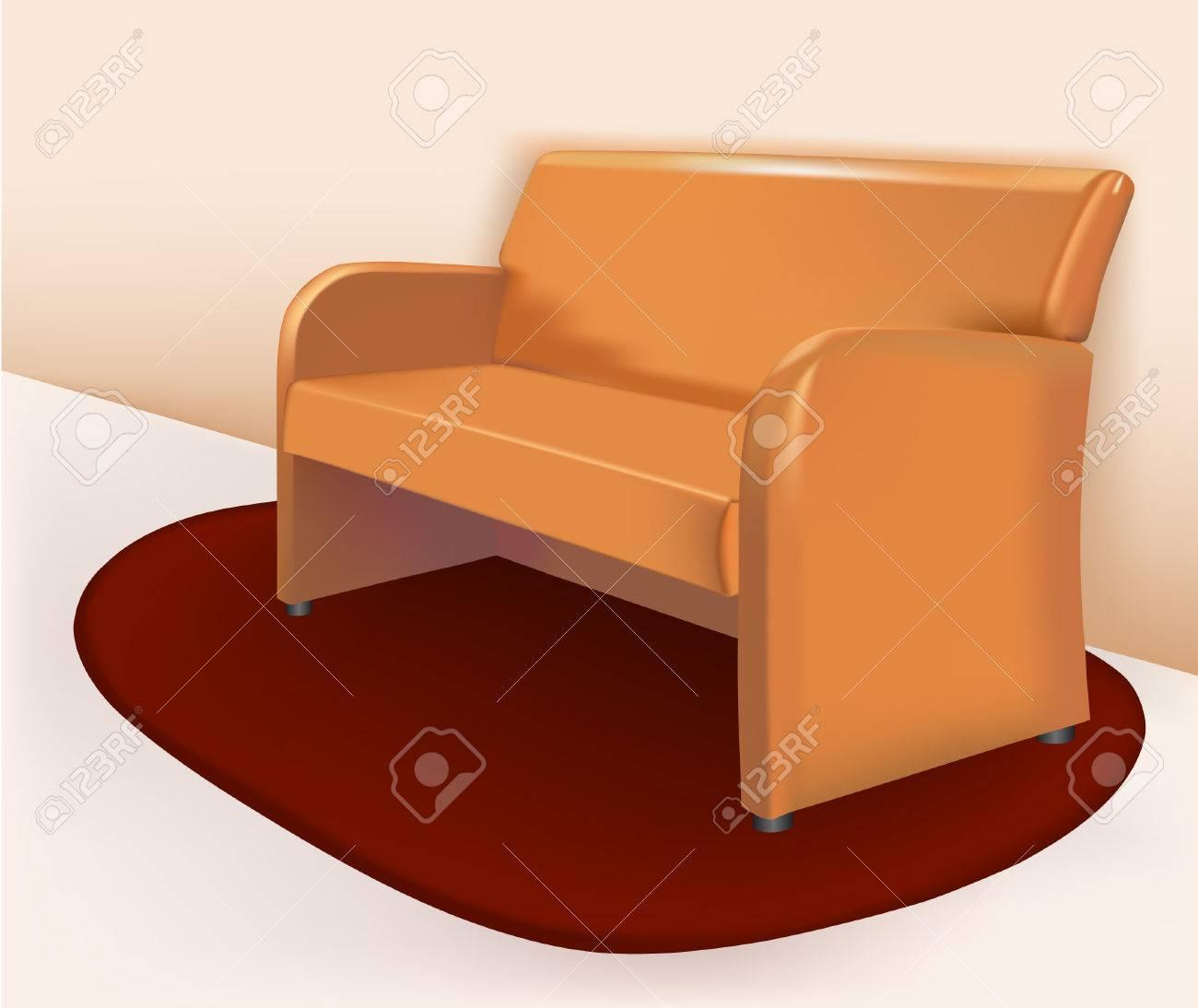 Bordeauxrode Leren Bank.Soft Brown Leather Sofa Is On The Burgundy Carpet