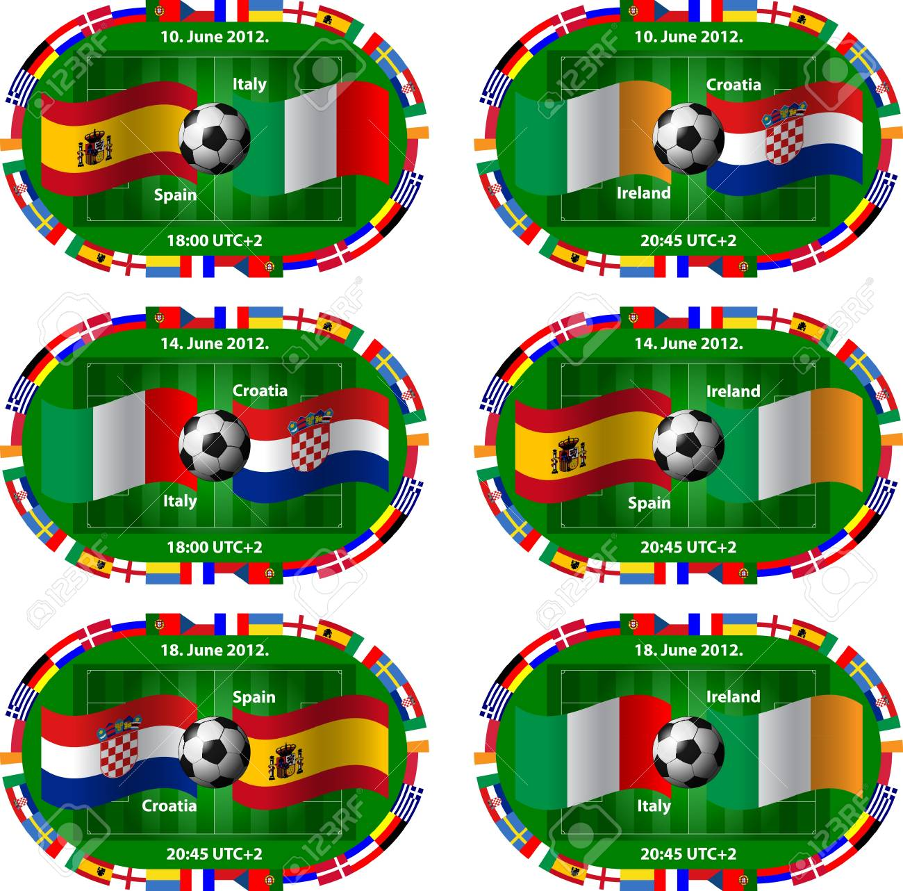 group stage of the European Championships Group C Stock Vector - 13640934