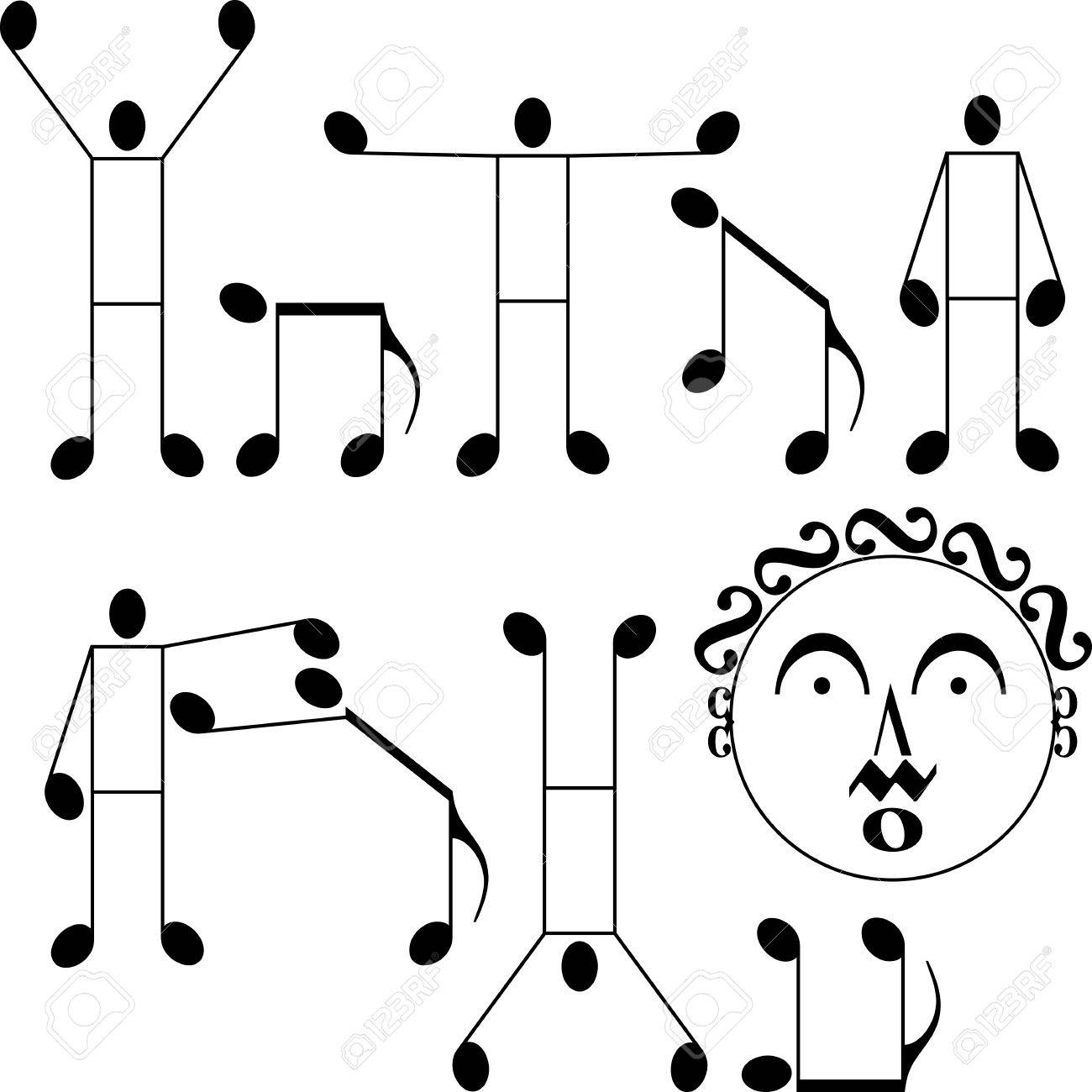 musical notes as a man and dog Stock Vector - 14519627