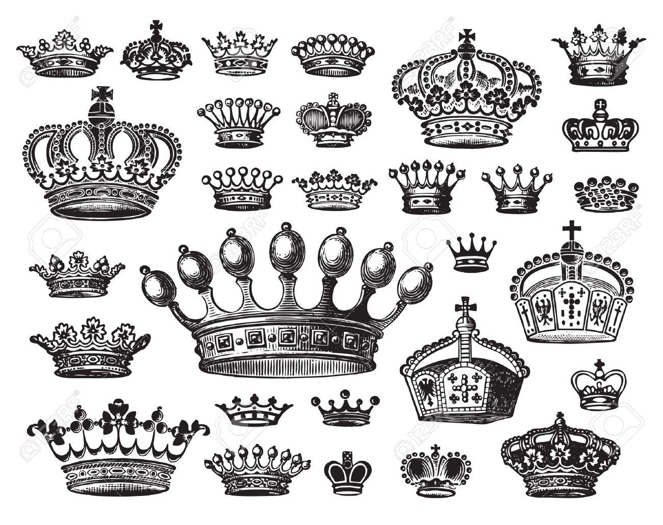 antique crowns set Stock Vector - 7350457
