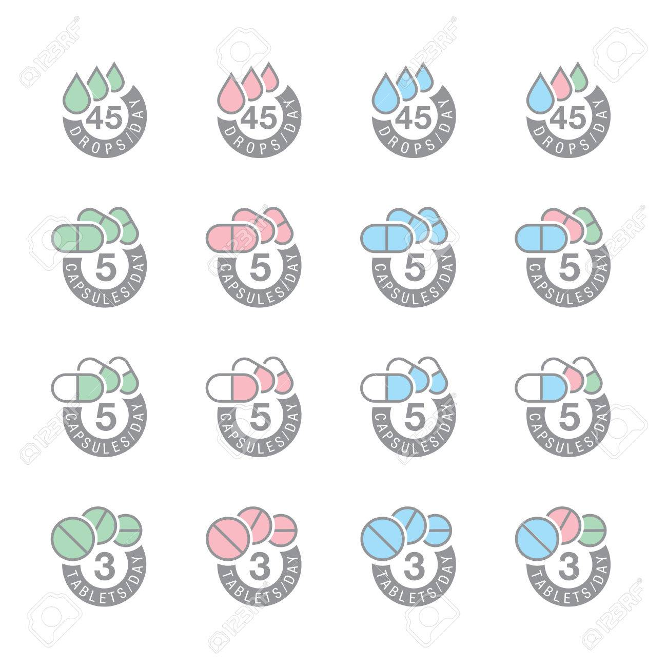 pharmaceutical dosage icons Stock Vector - 8954864