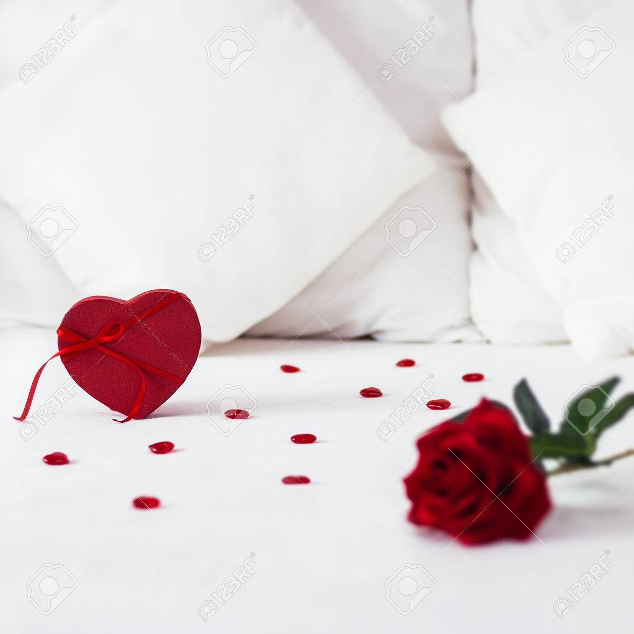 Valentines Day Surprise At Morning On The White Bed For Her Stock