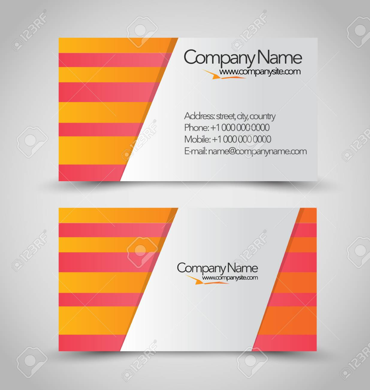 Vertical Business Card Set Template. Orange And White Color ...