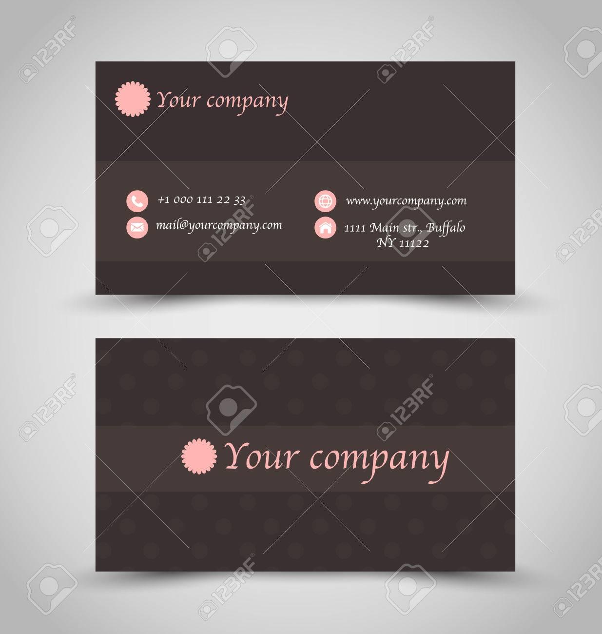 Carte De Visite Mis Modle Couleur Brun Chocolat Impression Rose Icnes Contact