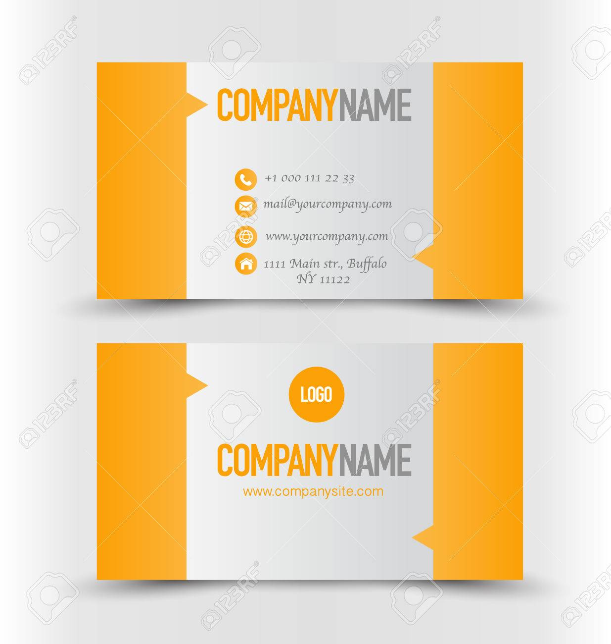 Business card design set template for company corporate style business card design set template for company corporate style orange and silver color vector reheart Gallery