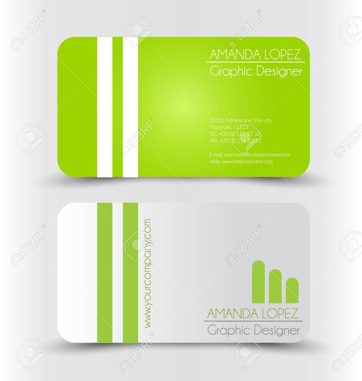 Business card design set template for company corporate style business card design set template for company corporate style green and silver color vector reheart Image collections