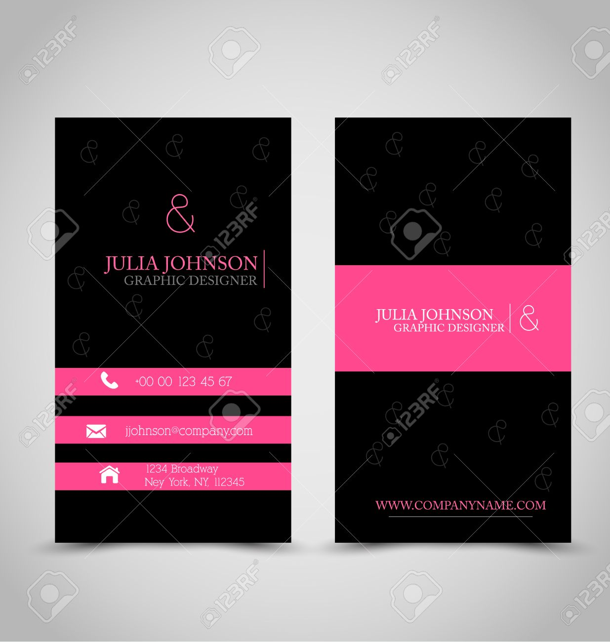 Business card design set template for company corporate style business card design set template for company corporate style pink and black color vector reheart Choice Image