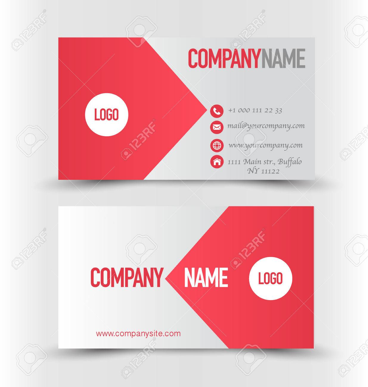 Business card design set template for company corporate style business card design set template for company corporate style red and silver color vector magicingreecefo Choice Image