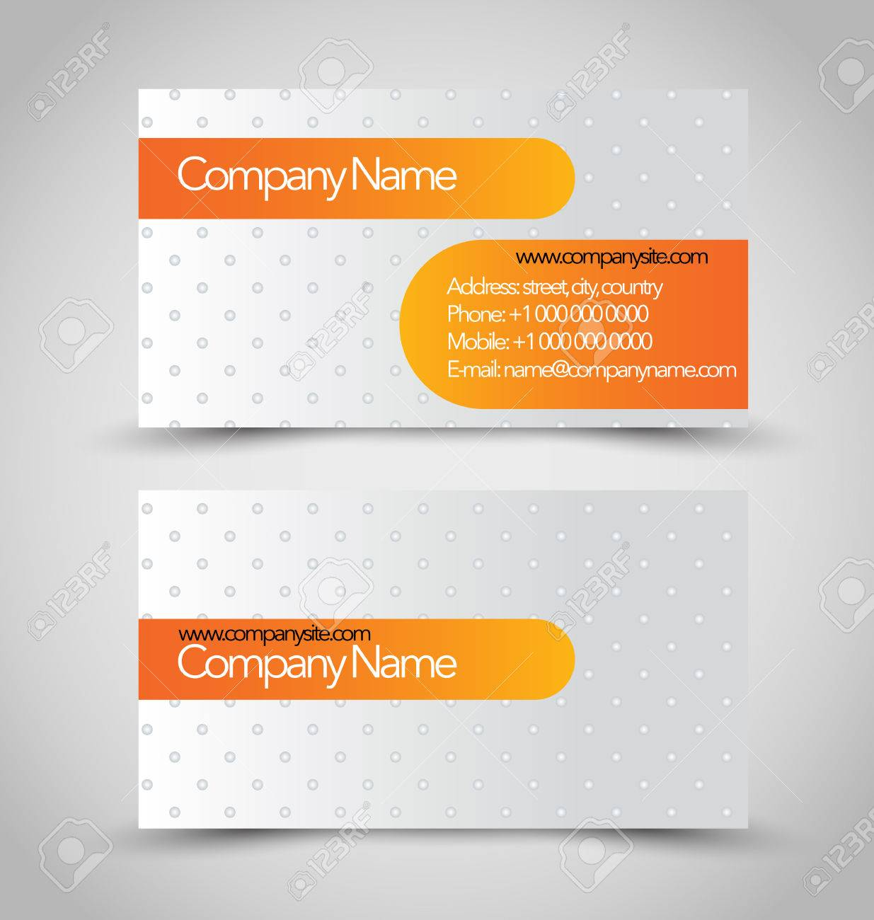 Carte De Visite Mis Modele Orange Et La Couleur Gris Argent Vector