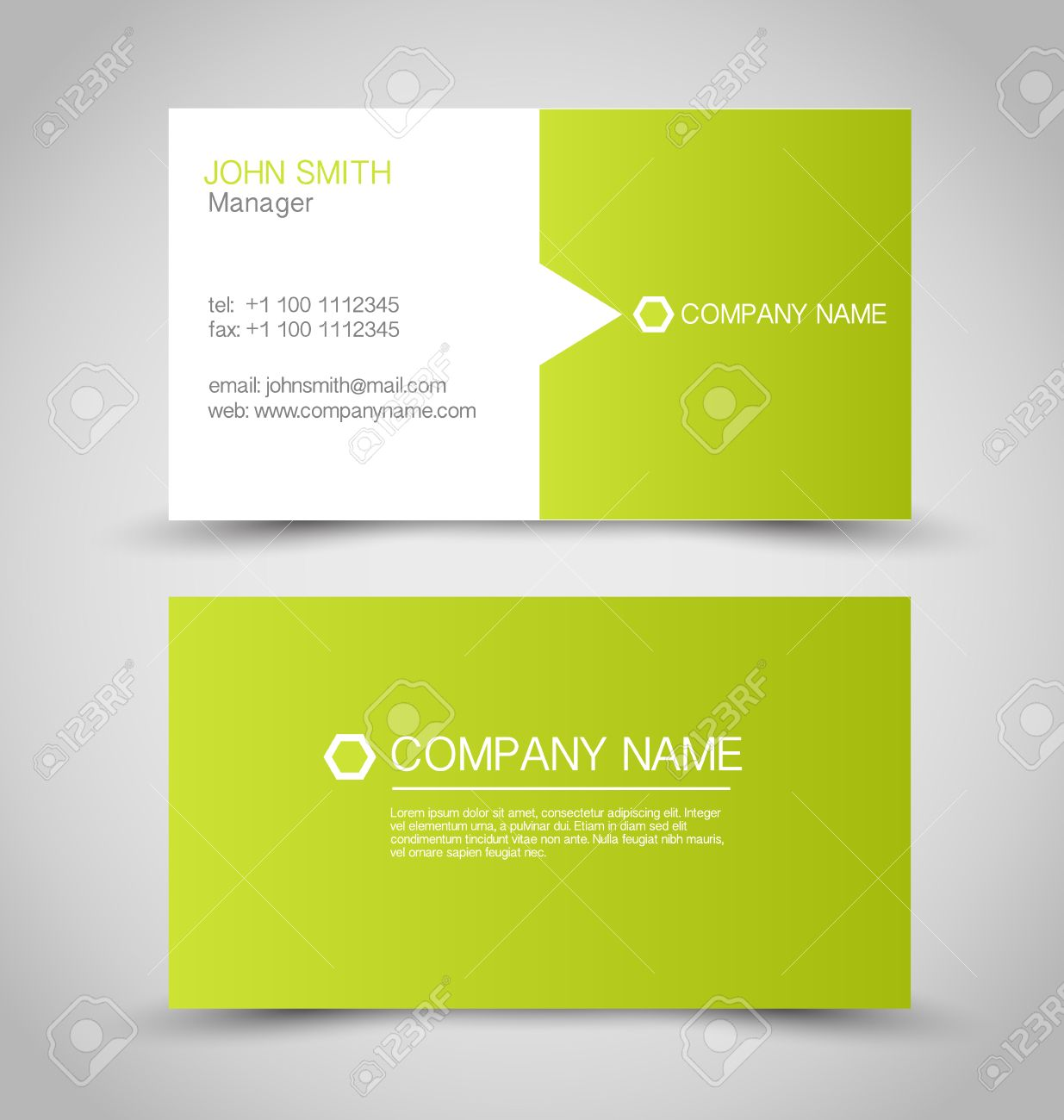 Business card set template green and white color vector business card set template green and white color vector illustration stock vector reheart Images