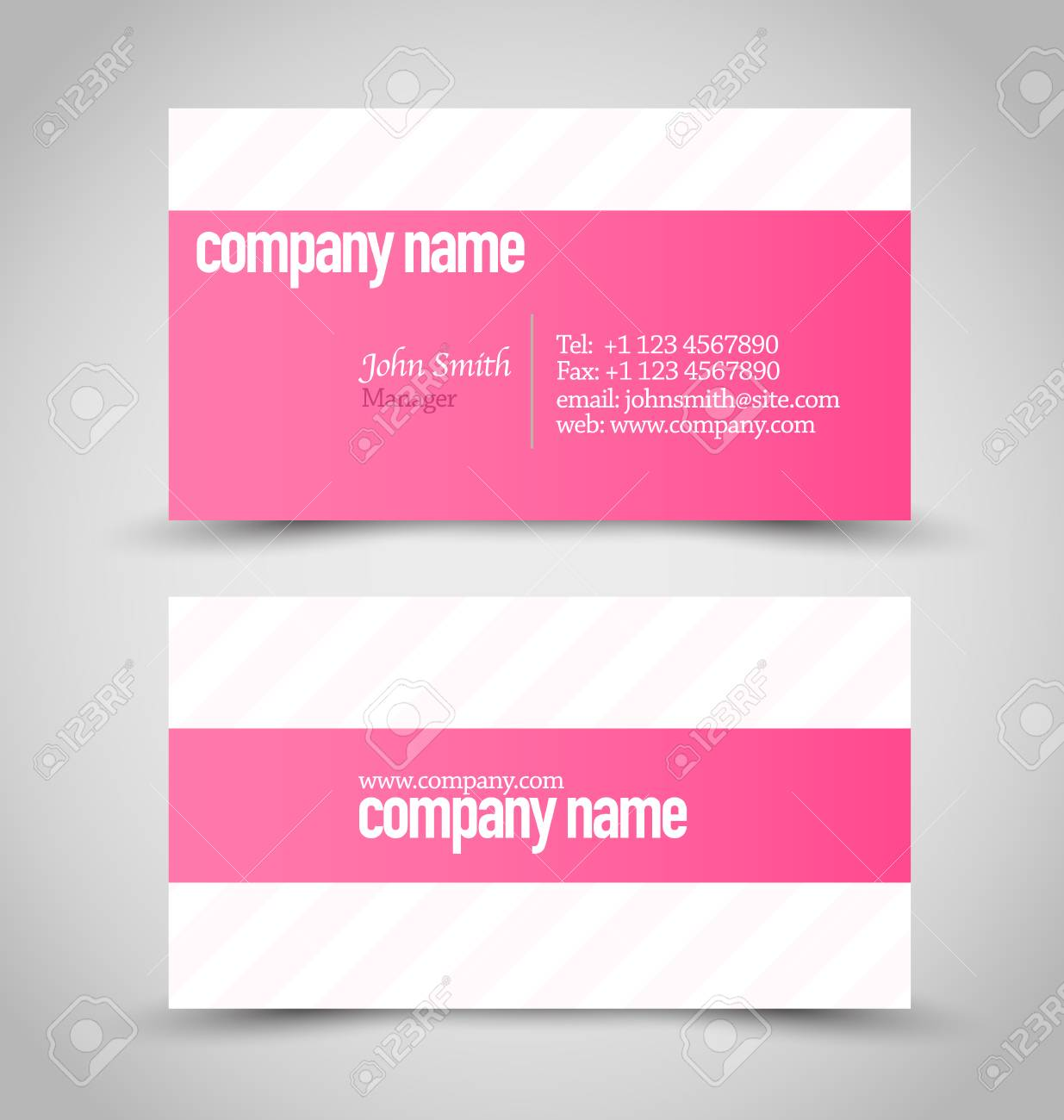 Business card set template pink and white color vector business card set template pink and white color vector illustration stock vector reheart Choice Image