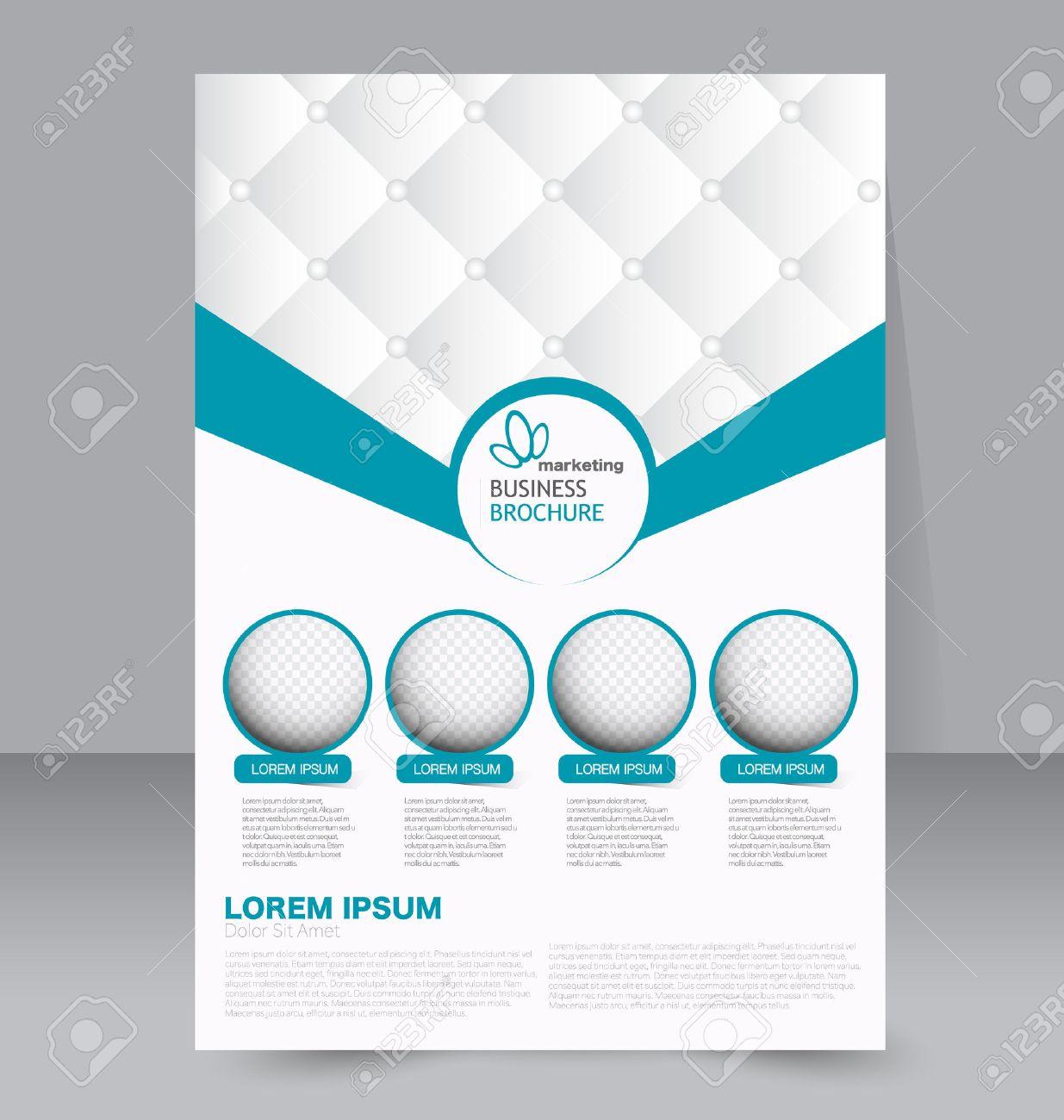 Flyer template. Business brochure. Editable A4 poster for design, education, presentation, website, magazine cover. Blue color. - 51526133