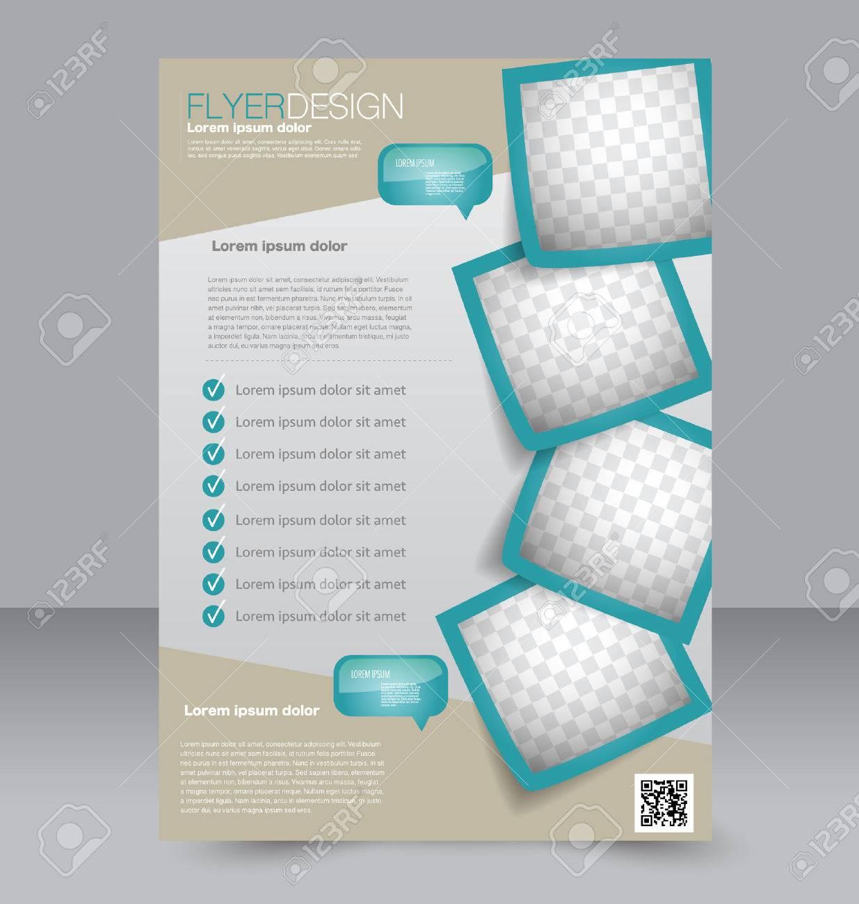 Brochure design. Flyer template. Editable A4 poster for business, education, presentation, website, magazine cover. Green color. - 52297074