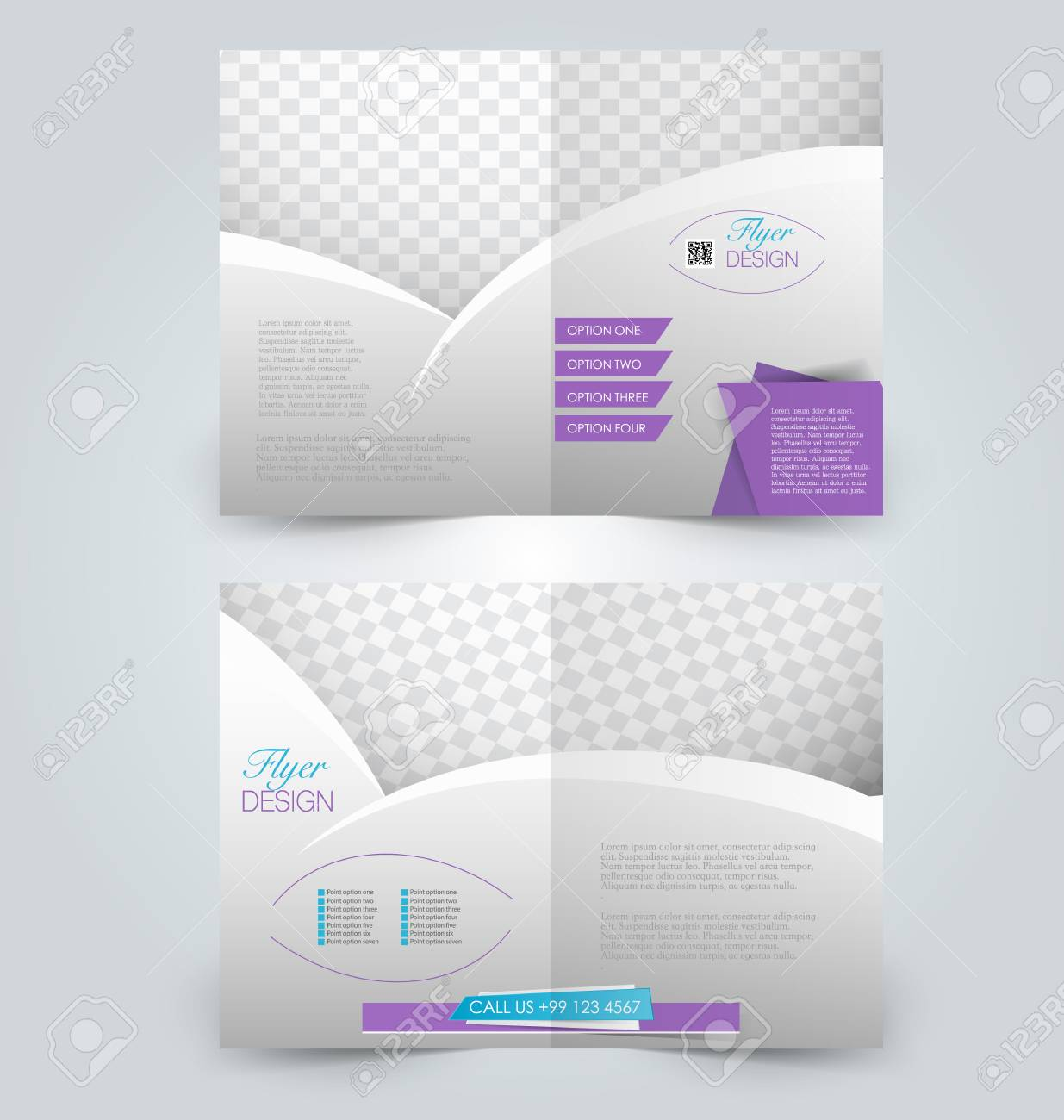 brochure template design two page mock up flyer blue and purple