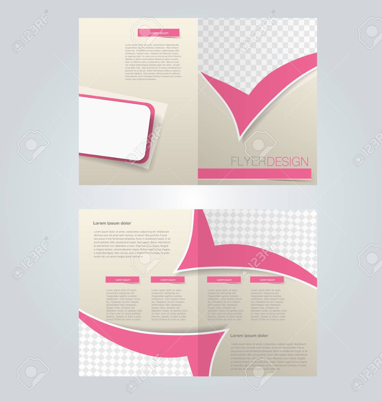 Brochure Template Design Two Page Mock Up Flyer Pink Color - Two page brochure template
