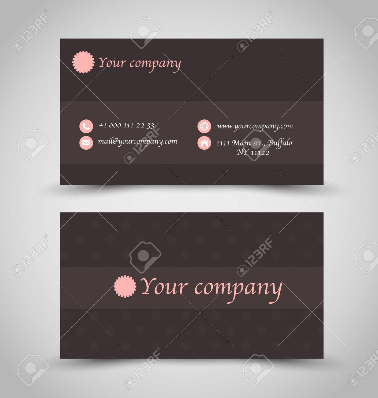 Business card set template brown chocolate color pink print business card set template brown chocolate color pink print contact icons vector colourmoves