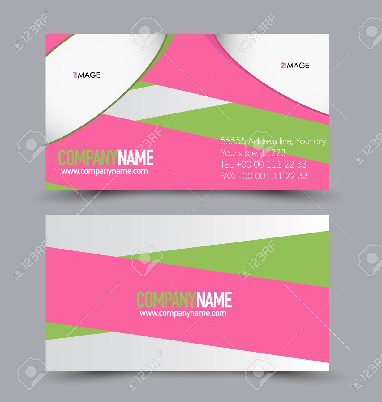 pink and green business cards