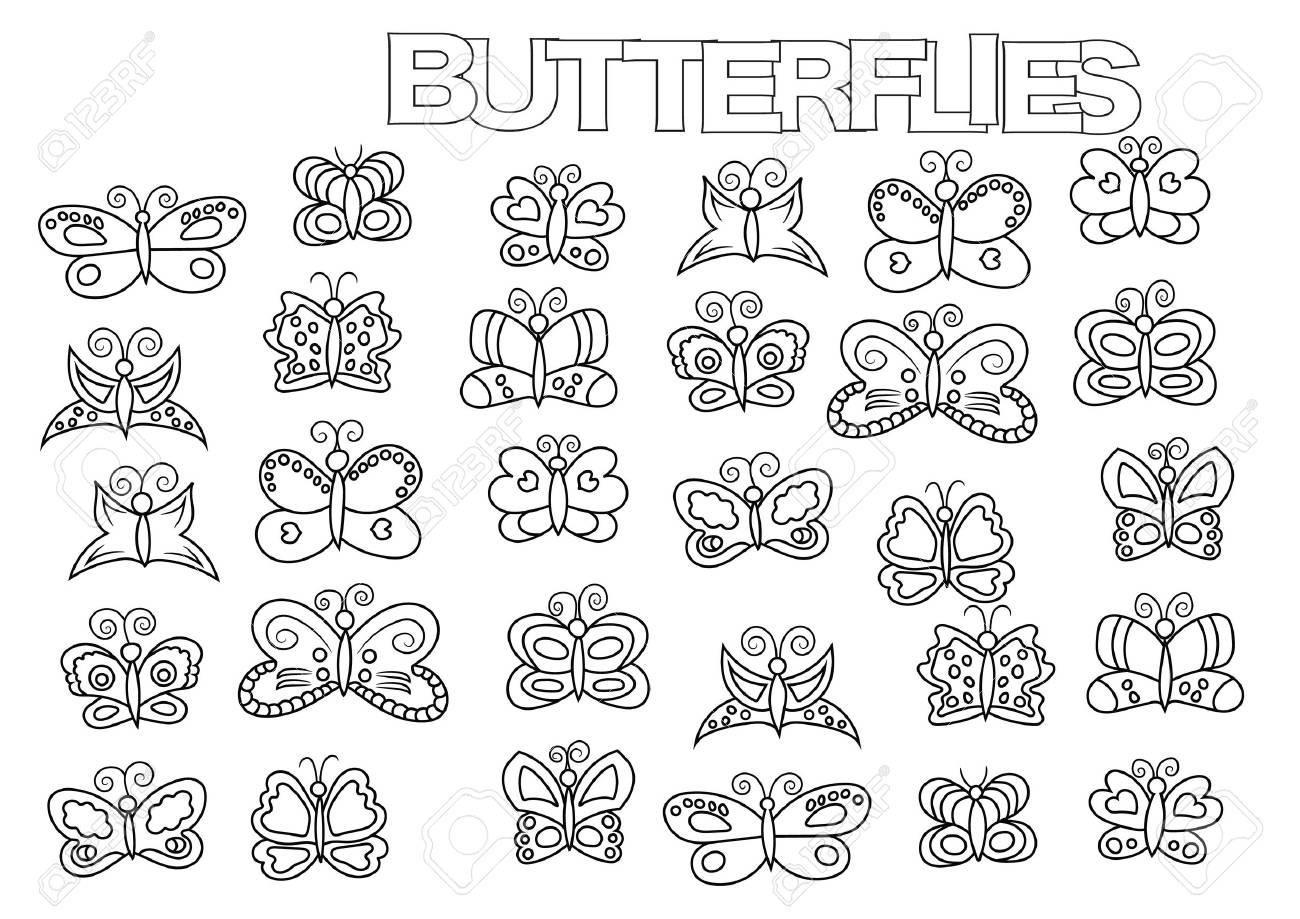 Conjunto De Mariposas Dibujadas A Mano. Plantilla De Página De