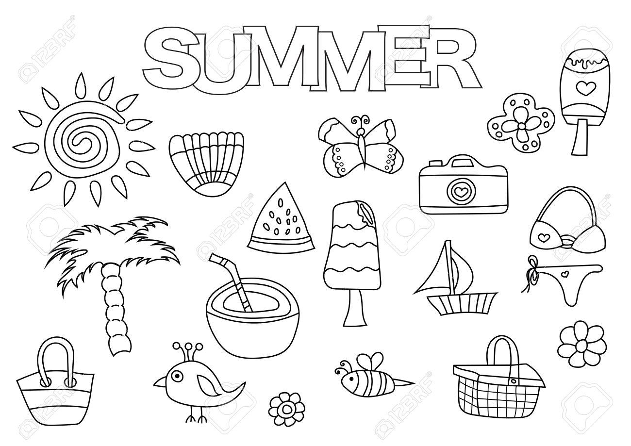 Elementos De Verano Conjunto Dibujado A Mano Plantilla De Libro Para Colorear Ilustración Del Vector De Los Elementos Del Doodle Del Esquema