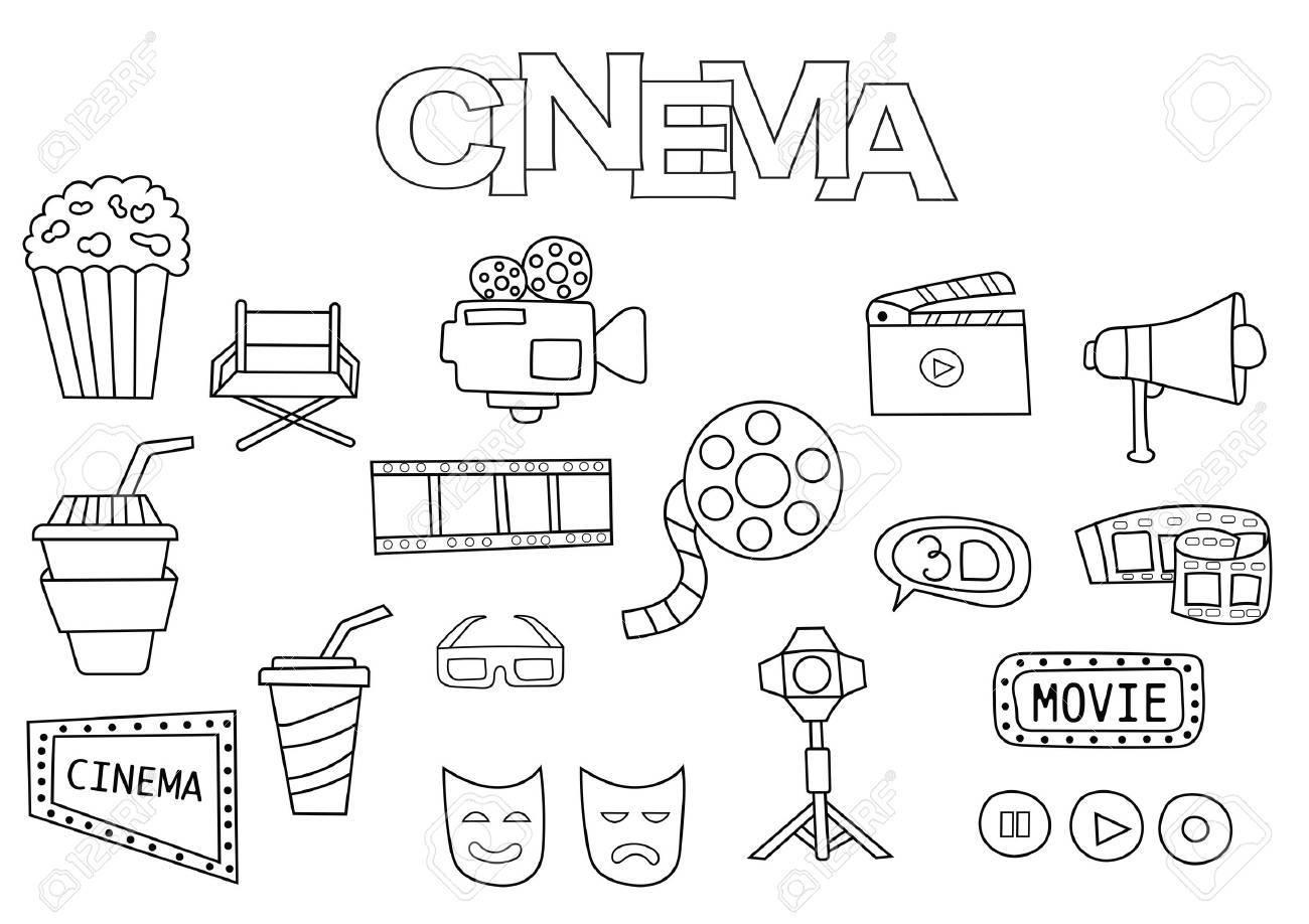 Conjunto De Cine Dibujado A Mano Plantilla De Libro Para Colorear