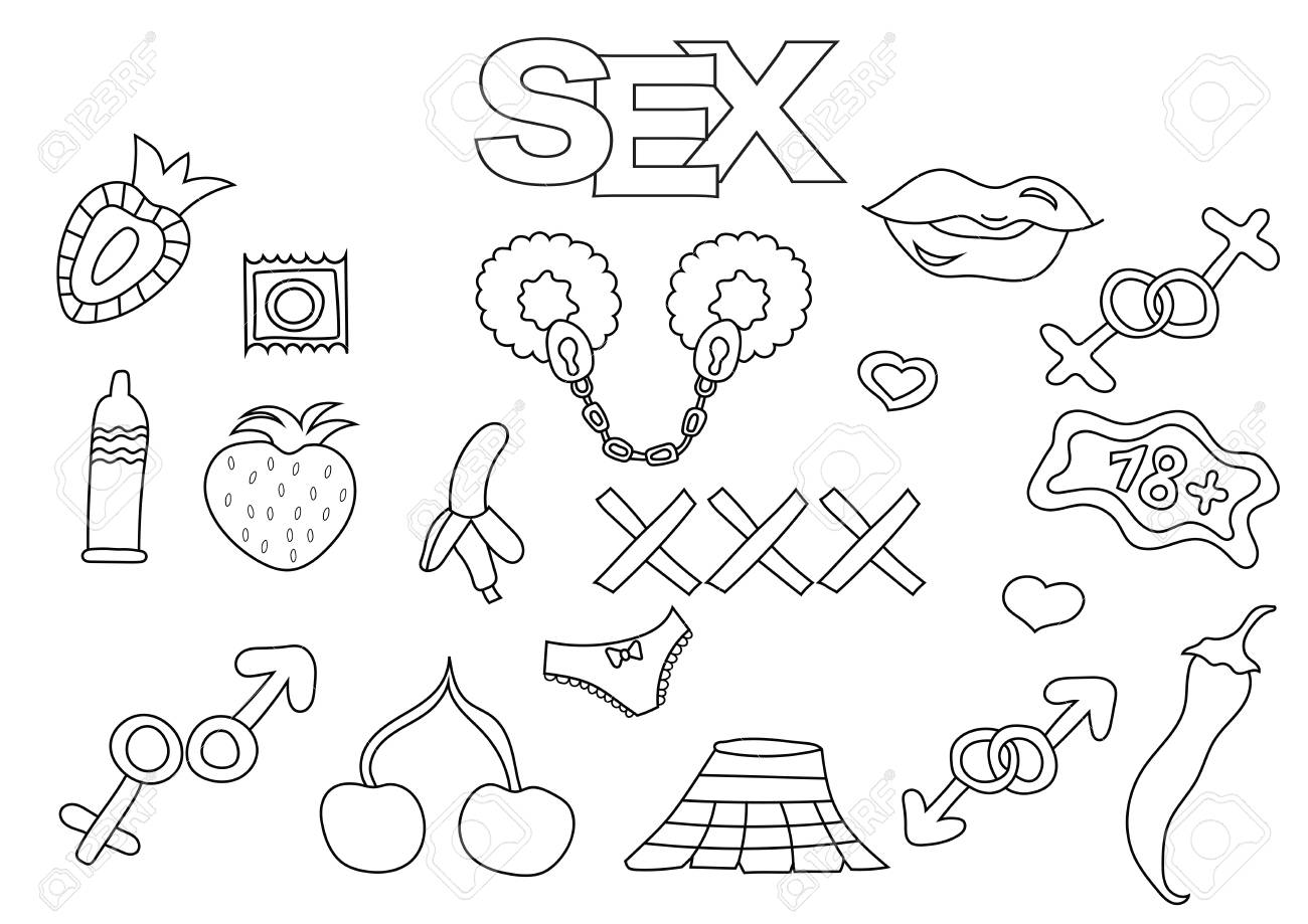 Sex And Porn Elements Hand Drawn Set Coloring Book Template