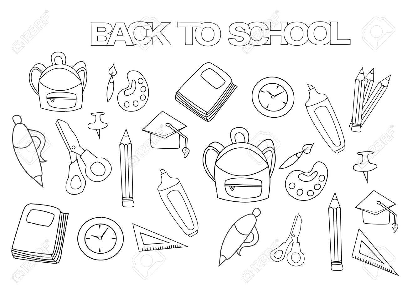 Back To School Set Coloring Book Page Template Outline Doodle