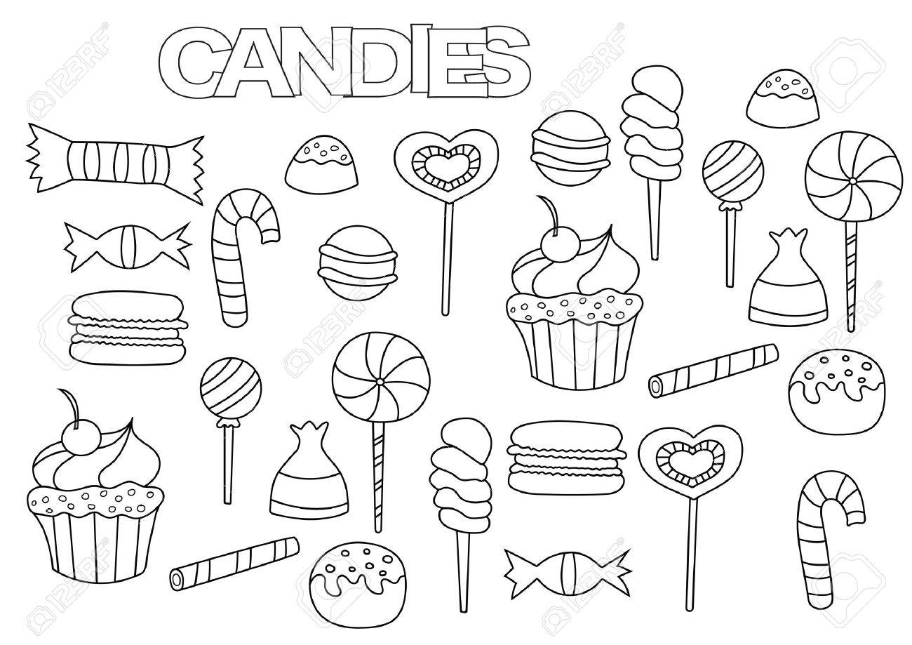 Hand drawn candy bar set coloring book page template outline doodle vector illustration