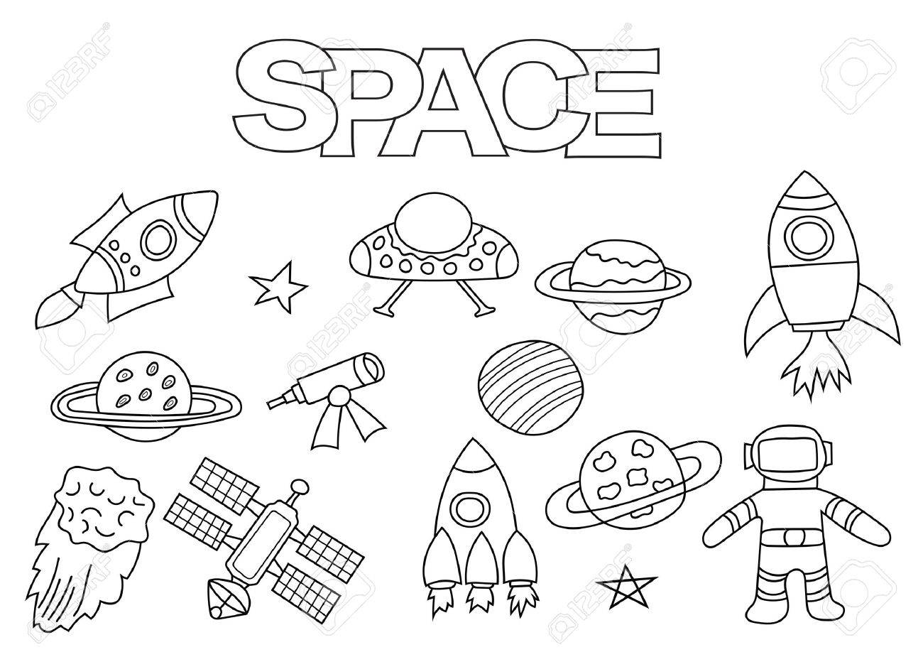 Space Elements Hand Drawn Set. Coloring Book Template. Outline ...