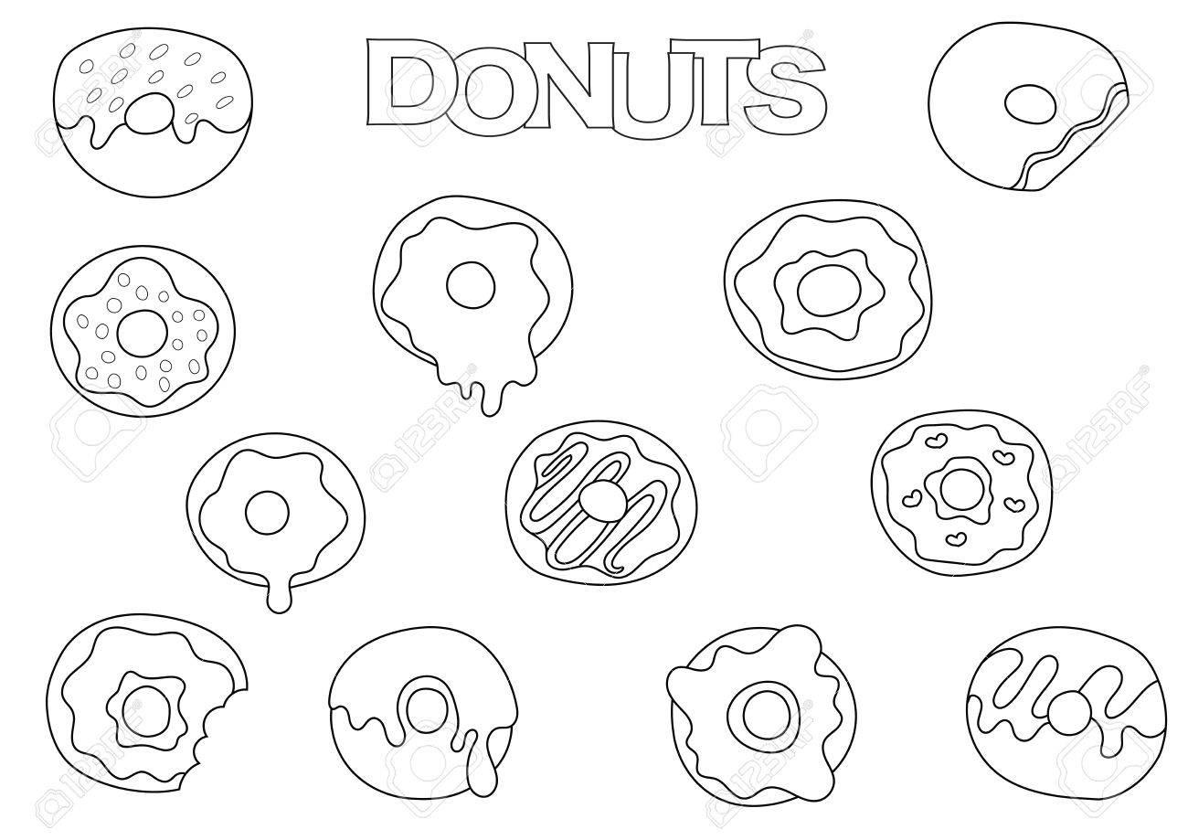 Elementos De Donuts Conjunto Dibujado A Mano Plantilla De Libro Para Colorear Ilustración Del Vector De Los Elementos Del Doodle Del Esquema Página