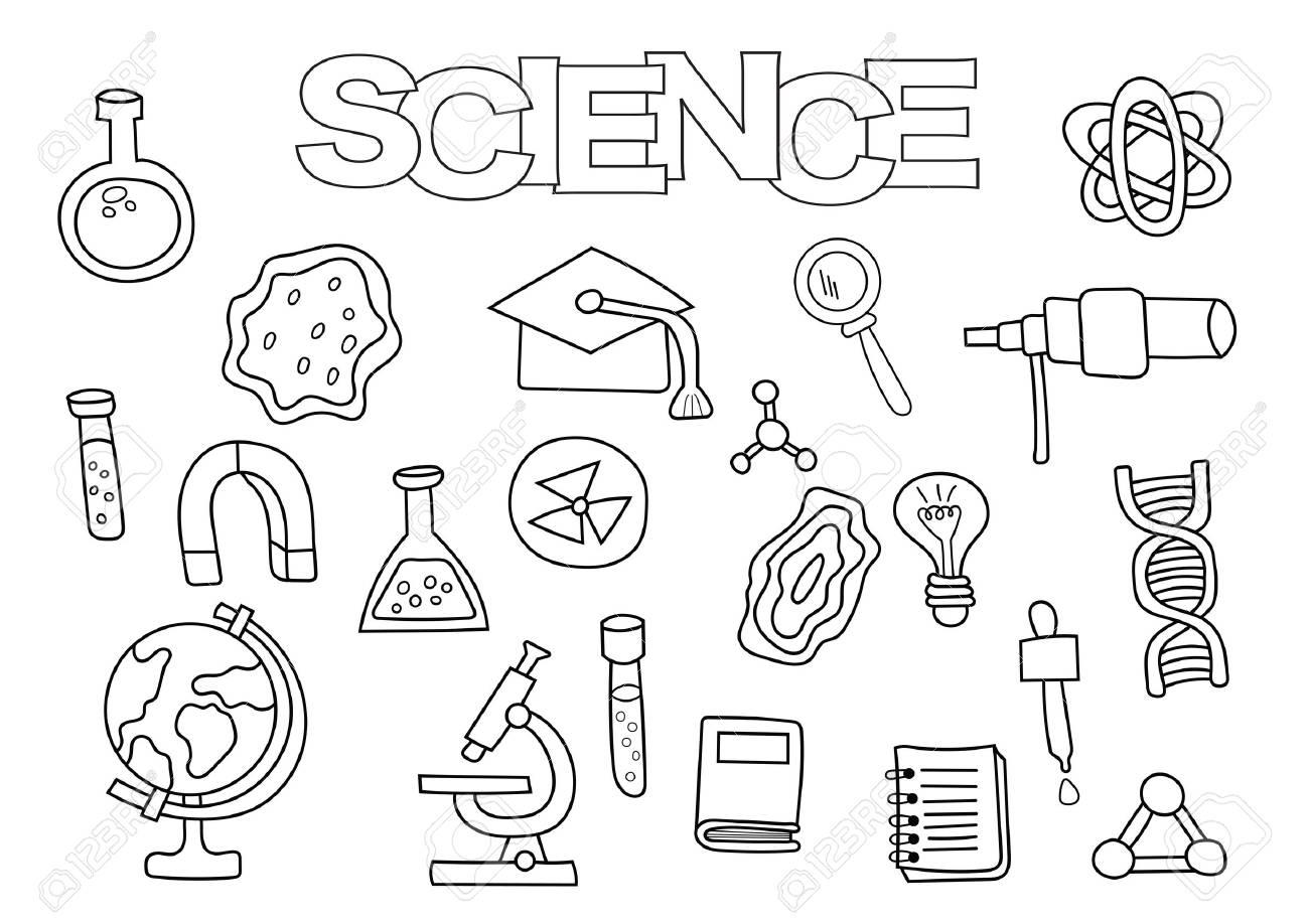 Elementos De Ciencia Conjunto Dibujado A Mano. Plantilla De Libro ...