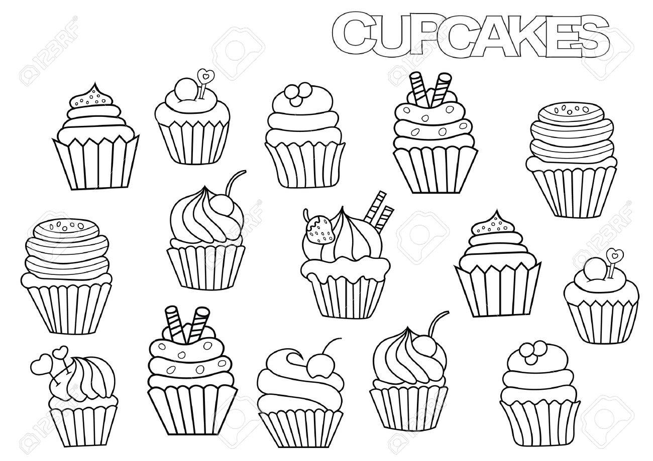 Hand Drawn Cupcakes Set. Coloring Book Page Template. Outline ...