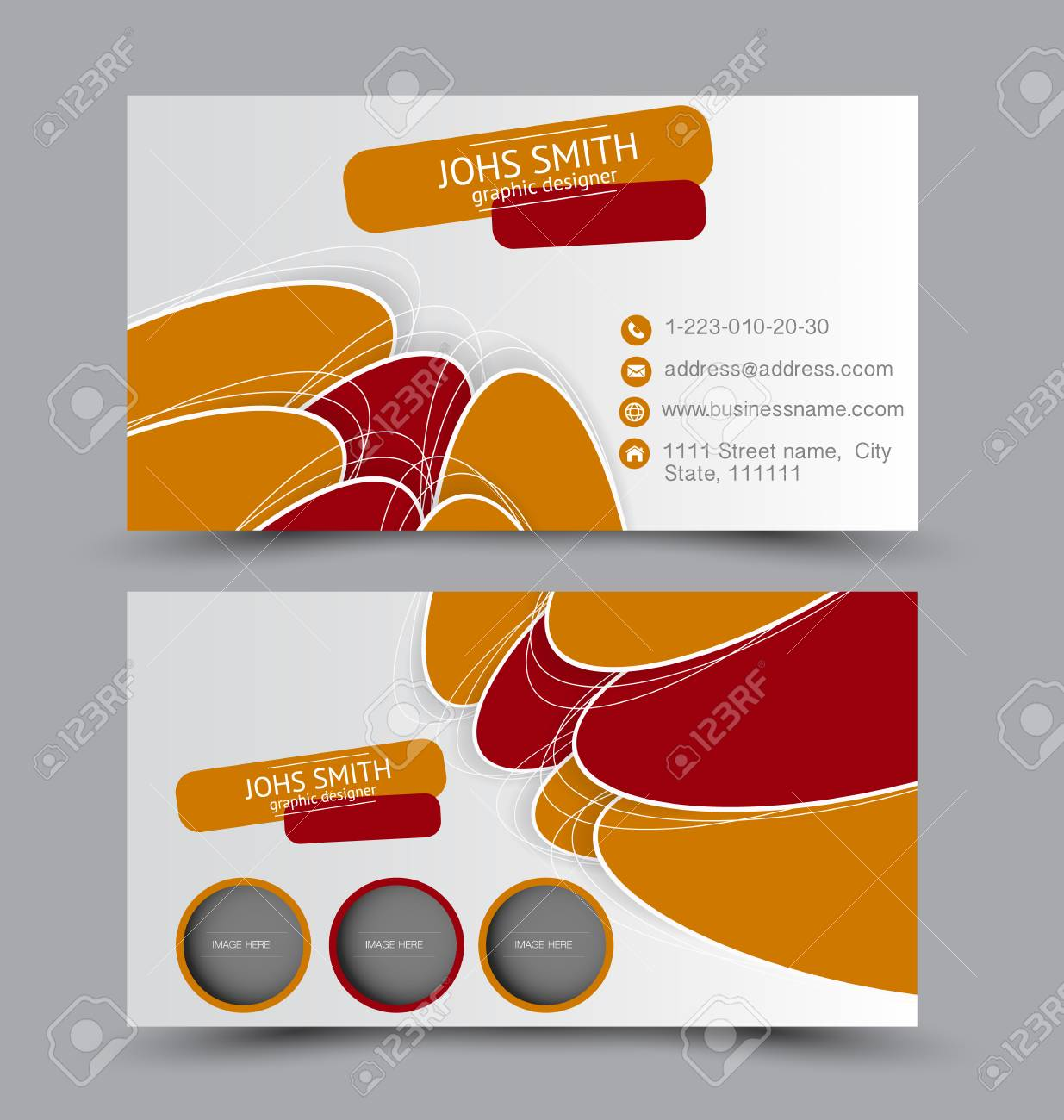 Business card design set template for company corporate style business card design set template for company corporate style orange and red color vector reheart Images